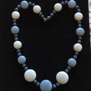 A blue bakelite necklace glitter bead Very RARE